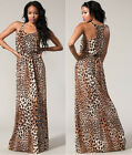 New Women's Sleeveless Animal Print Maxi Dress With Racer Back S M L