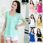 New Korean Fashion Womens Loose Chiffon Tops Short Sleeve Shirt Casual Blouse