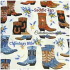 COWBOY BOOTS FABRIC~2 COLORS~GREETINGS FROM TEXAS~BY THE YD~WESTERN~COWBOY