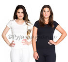 3 Three Ladies Cotton Thermal Underwear Short Sl Tops Black White Beige- sz 8-22