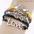 NEW Hot Jewelry fashion Love  Leather Cute Charm Bracelet Silver White