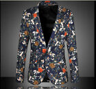 Mens Fashion One Breasted Floral Suit Casual Business Fomal Blazers Coat Jacket