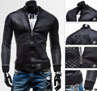 Free Ship~ Mens PU Leather Jacket Coat Slim Fit Motor Biker Zip Outwear XS S M L