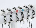 1PC Crystal Alloy Skull Pave Kintted Beads Macrame Woven Bracelet Hip Hop Punk