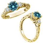 0.75 Carat Blue Diamond Fancy Solitaire Promise Wedding Ring 14K Yellow Gold