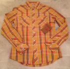 AUTHENTIC TRUE RELIGION Shirt ROCKY Button Down Plaid Long Sleeve Tan NEW
