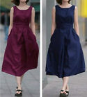 Women's Girls' Summer Fashion BOHO Loose Sleeveless Linen LONG Dress With Belt