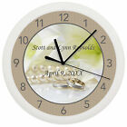 WEDDING WALL CLOCK PERSONALIZED GIFT MARRY MARRIAGE SHOWER RINGS ANNIVERSARY