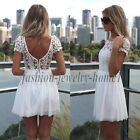 Sexy Lady Summer Bandage BodyCon White Lace Evening Party Cocktail MINI Dress