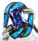 Princess cut Tanzanite & Blue Fire Opal Inlay 925 Sterling Silver Ring Size 5-10
