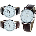 Men Women Ladies Leather Quartz Analog Fashion Bracelet Wrist Watch Gayly