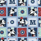 Disney Mickey Mouse blue patch  : 100% LICENSED cotton : by the 1/2 metre