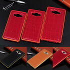 For Samsung Galaxy A3 A5 A7 Luxury Metal Frame Leather Crocodile Back Case Cover