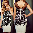 2015 Women's Sexy Vintage Printing Party Evening Cocktail OL Mini Pencil Dress