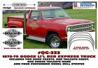 QG-333 1978-79 DODGE - LIL RED EXPRESS - TRUCK LETTERING and STRIPE DECAL KIT