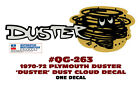 QG-263 1970-1972 PLYMOUTH DUSTER  - DUSTER CLOUD - TAIL PANEL DECAL - ONE DECAL  for sale