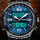 New Mens LED Digital Analog Quartz Date Alarm Wrist Watch Sport Waterproof Watch image
