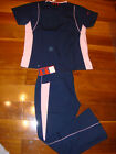 2718 New Stylish Scrubs Set Nurses Uniform Flare Pant & Top NWT Navy Pink XSmall