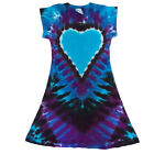 "Groovy Blueberry Girls Tie-Dye ""Midnight Heart"" Cap Sleeve A Line Dress"