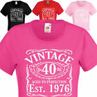 Vintage Since 1976, 40th Birthday Gift, crew neck ladies t shirt. Womans Tee .