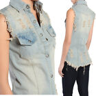 TheMogan 90's Retro Vintage Ripped Cuf Off Denim Vest Sleeveless Jean Shirts