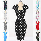 Vintage Floral Polka dot Swing 50's 60's Housewife Pinup Rockabilly Wiggle Dress