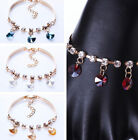 Adjustable Simple Gold Plated Pendant Crystal Rhinestone Chain Bangle Bracelet