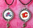 NHL Logo Bottle Cap Earrings OR Necklaces w/ Skate Charm - Choose Your Fave Team