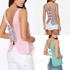 Ladies Summer Sleeveless Back Deep V Tops T-shirt Tank Blouse Cami 3 Colors