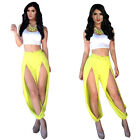 Two Piece Summer Casual Celeb Sexy Lady Short Tank Top/Blouse+Split Pants S M L