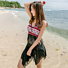 One Piece Bohemian Fringe Irregular Hem Swimsuit Swimwear Tankini Top Swim Dress