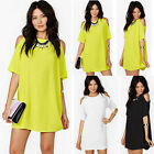 NEW Womens Summer Off Shoulder Short Sleeve Chiffon Mini Dress Casual Loose Tops