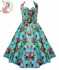 HELL BUNNY 50's MAY DAY floral rockabilly DRESS TURQUOISE