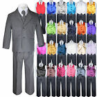 7pc Baby Toddler Boy Dark Gray Formal Wedding Party Suit ...
