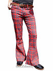 FLARES Tartan red mens bell bottoms hippie vtg indie trousers 60's 70's glam