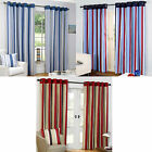 Striped Ring Top Eyelet Fully Lined Half Panama Curtains Black / Red Blue Marine