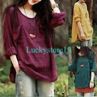 Casual Women Round Neck Long Sleeve Solid Cotton Linen Blouse Loose Tops M L