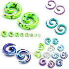 Acrylic Snail Spiral Horn Taper Ear Stud Plugs Tunnel Stretcher Expander Earring