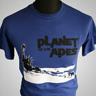 Planet of The Apes Retro Movie T Shirt Sci Fi Vintage 1968 Cool Hipster Blue