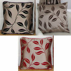 Flocked Bay Leaf Pair Of Cushion Cover Cases In Black Chocolate Red