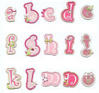 Letters Alphabet Girls Pink Iron on Sew On Patch Applique Motif DIY Personalise