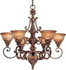 Illuminati Bronze And Bell Shaped Silver Patina Glass 6  Light Chandelier