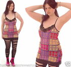 LACE STRAPPY DRESS TOP TARTAN PATCHWORK  ALTERNATIVE INSANITY GOTH