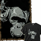 Rocky DJ Chimpo Headphone Monkey Ape Banksy Indie Skater Herren Fun T-Shirt M-L