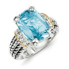 Blue Topaz Diamond Ring Sterling Silver Gold Accent 0.10 Ct Sz 6-8 Shey Couture