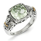 Green Quartz Ring Sterling Silver 14K Gold Accent Antiqued Size 6-8 Shey Couture