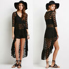 Women's Sexy V-Neck High-Low See-Through Short Evening Cocktail Club Lace Dress