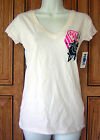 Metal Mulisha Large Black Pink Roses Flower Logo V Neck White T Shirt Top WA