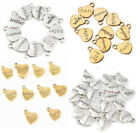18pcs Silver & Gold Heart Family Name Alloy Charm Bracelet Necklace Diy Pendants