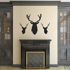 Stag Head Wall Stickers - Pack of 3 Stag / Deer Head Silhouette Decals